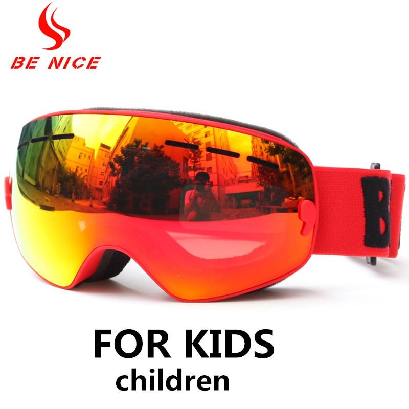 Детские лыжные очки Benice, очки для сноуборда для детей Uv400, незапотевающие лыжные очки для мальчиков и девочек с сферическими линзами, больши...