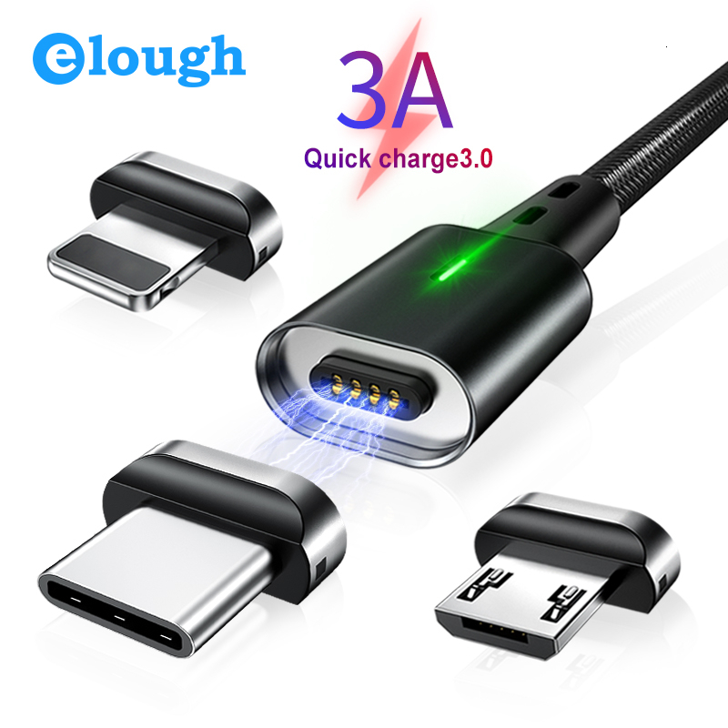 Elough Quick Magnetic Charger 3.0 4.0 Micro USB Cable 3 In 1 For IPhone Samsung Xiaomi Phone Fast Magnetic Charging Type C Cable