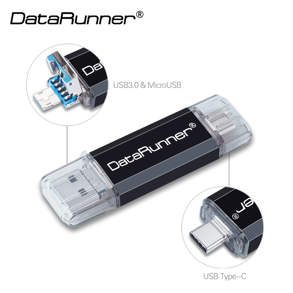 DataRunner OTG USB Flash Drive Usb 3.0 Type C Pen Drive 32GB Usb Stick 16GB 64GB 128GB 256GB Pendrive Flash Memory Stick