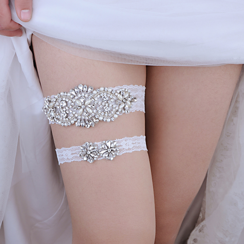 TRiXY THS76 TH20 Crystal Wedding Garter Rhinestone Lace Leg Ring Sexy Girl Garter Leg Ring Bridal Garter For Women/Female/Bride