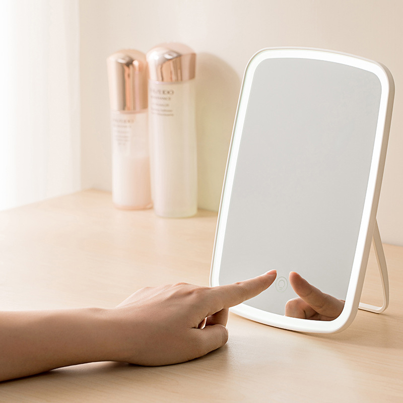 LED Makeup Mirror IntelligentLed Light Portable Desktop Women Professional LED Tricolor Light Touch Screen 3 Light Mirrors Room