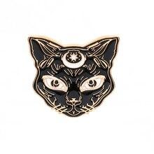 Animal brooches black Cat Metal Enamel Pins women Couple Badge Lapel Shirt Denim Accessories festival Gift