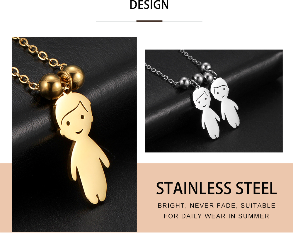Name Date Necklace Child Family Jewelry Personalized Engraved Custom Stainless Steel Gold Color Boy Girl Kid Pendant Women Beads