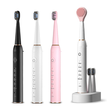 Sonic Electric Toothbrush IPX7 Waterproof 5 Mode Onekey Operate Washing Face Wireless Rechargeable Toothbrush Black White Pink