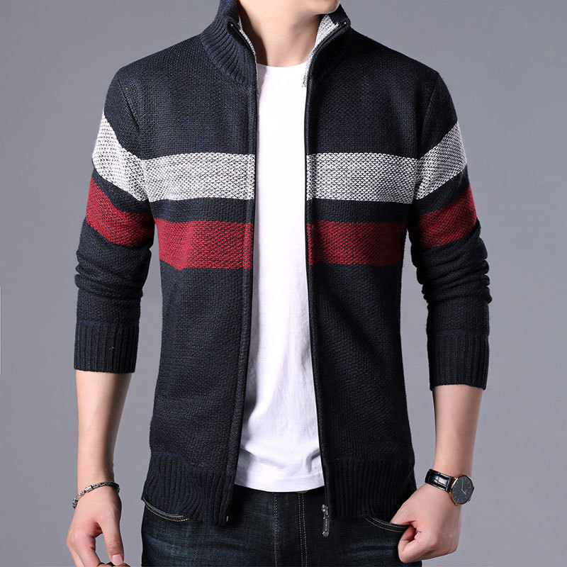Men Sweater Male 2019 New Winter Leisure Male Models With Velvet Thickening Warm Collar Knitting Cardigan
