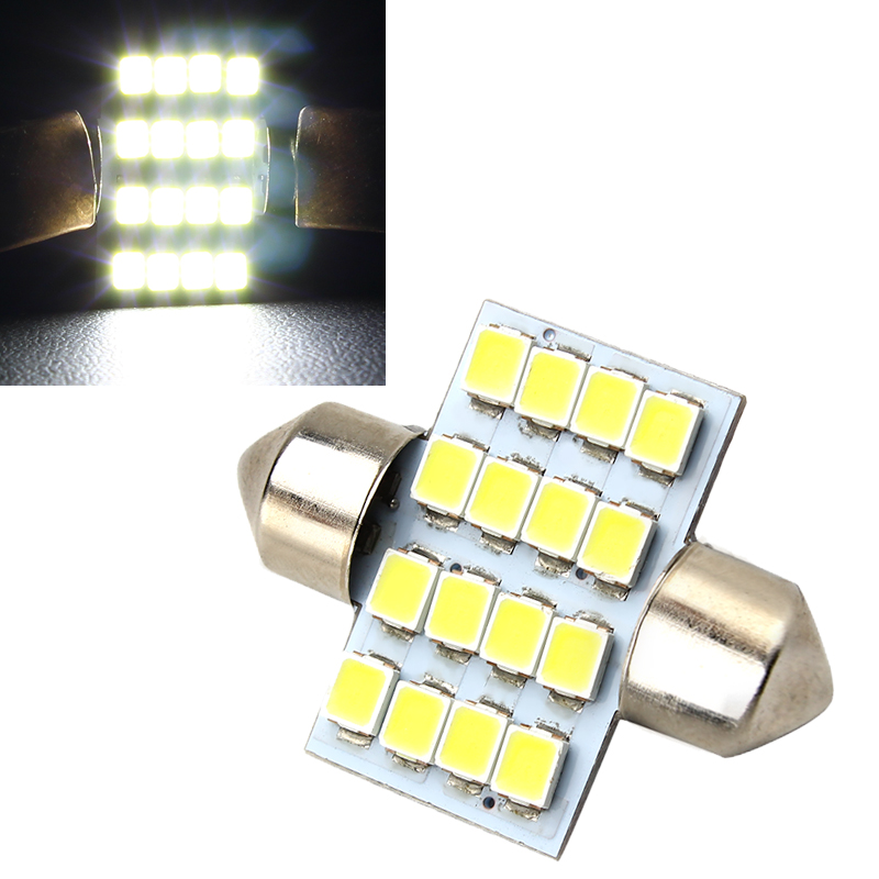 Car Styling 16SMD Car Licence Plate Light 31mm 3528 Car Light Dome Car Reading Light Light Source
