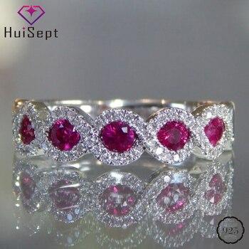 Anillo de plata de moda HuiSept 925, joyería de Rubí, Esmeralda, gemas de zirconia, anillos femeninos para regalos de boda, ornamentos, venta al por mayor