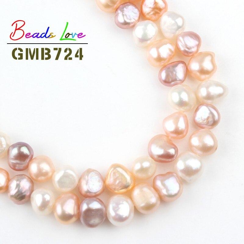 "Genuine 7-8MM Tahitian Black Freshwater culture Pearl Spacer Loose Beads 15/"""