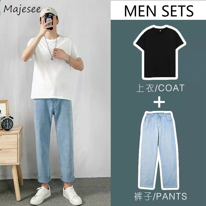 Men Sets Solid Denim Trousers Large Size 3XL Summer Korean Fashion Leisure Simple Set Chic Male Teens All-match Ins BF Ulzzang