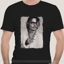Johnny Depp T-Shirt Schwarz Retro Vintage Blogger Neu cotton tshirt men summer fashion t-shirt euro size(China)