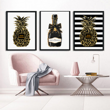 Champagne Gold Pineapple Wall Art Canvas Printing Modern FashionPosters and Prints Pictures For Living Room Decor unframed