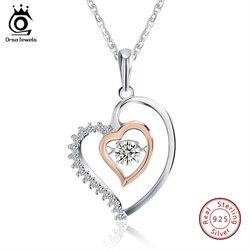 ORSA جواهر حقيقية 925 فضة مزدوجة القلب قلادة قلادة مع 0.3 ct كريستال الروديوم مختلطة ارتفع الذهب اللون القلائد SN15