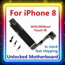 64GB 256GB 100% oryginalny zastąpiony dla IPhone 8 płyta główna z/bez Touch ID czysta płyta główna dla Iphone 8 IOS System Logic Board