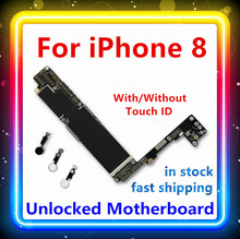 64Gb 256Gb 100% Originele Vervangen Voor Iphone 8 Moederbord Met/Geen Touch Id Schoon Main Board Voor iphone 8 Ios Systeem Logic Board