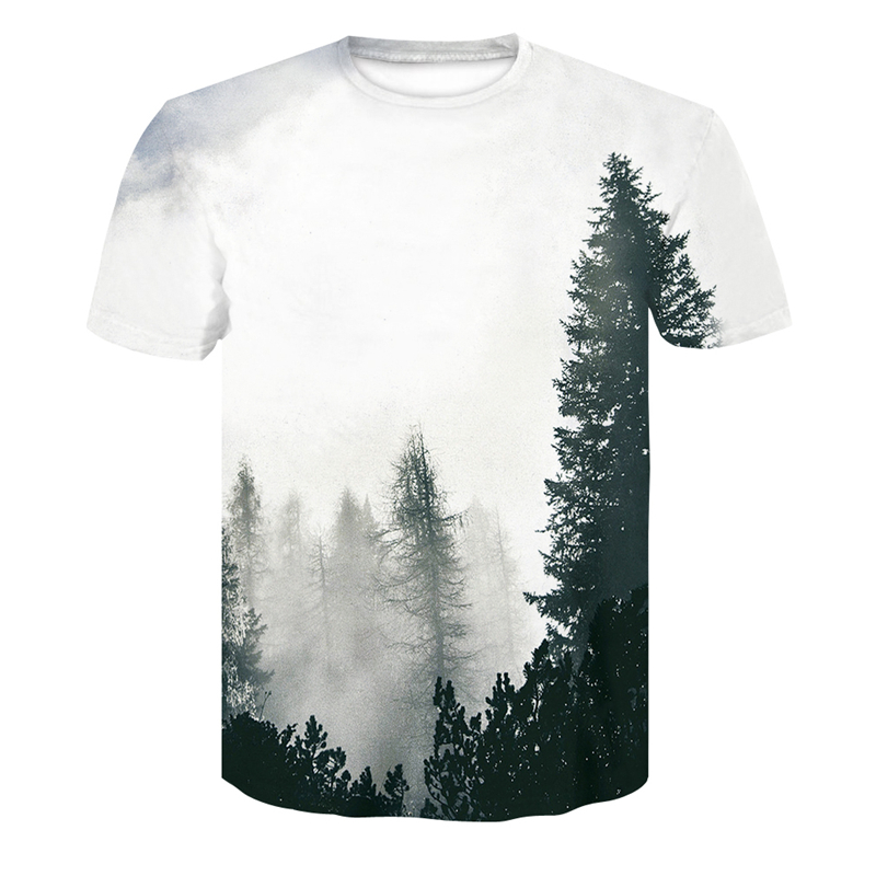 New Mens 3d T-shirt Forest Trees Print T Shirt Summer Cool Short-Sleeved Tops Tees Funny Art Joker O-neck T-shirt Plus Size