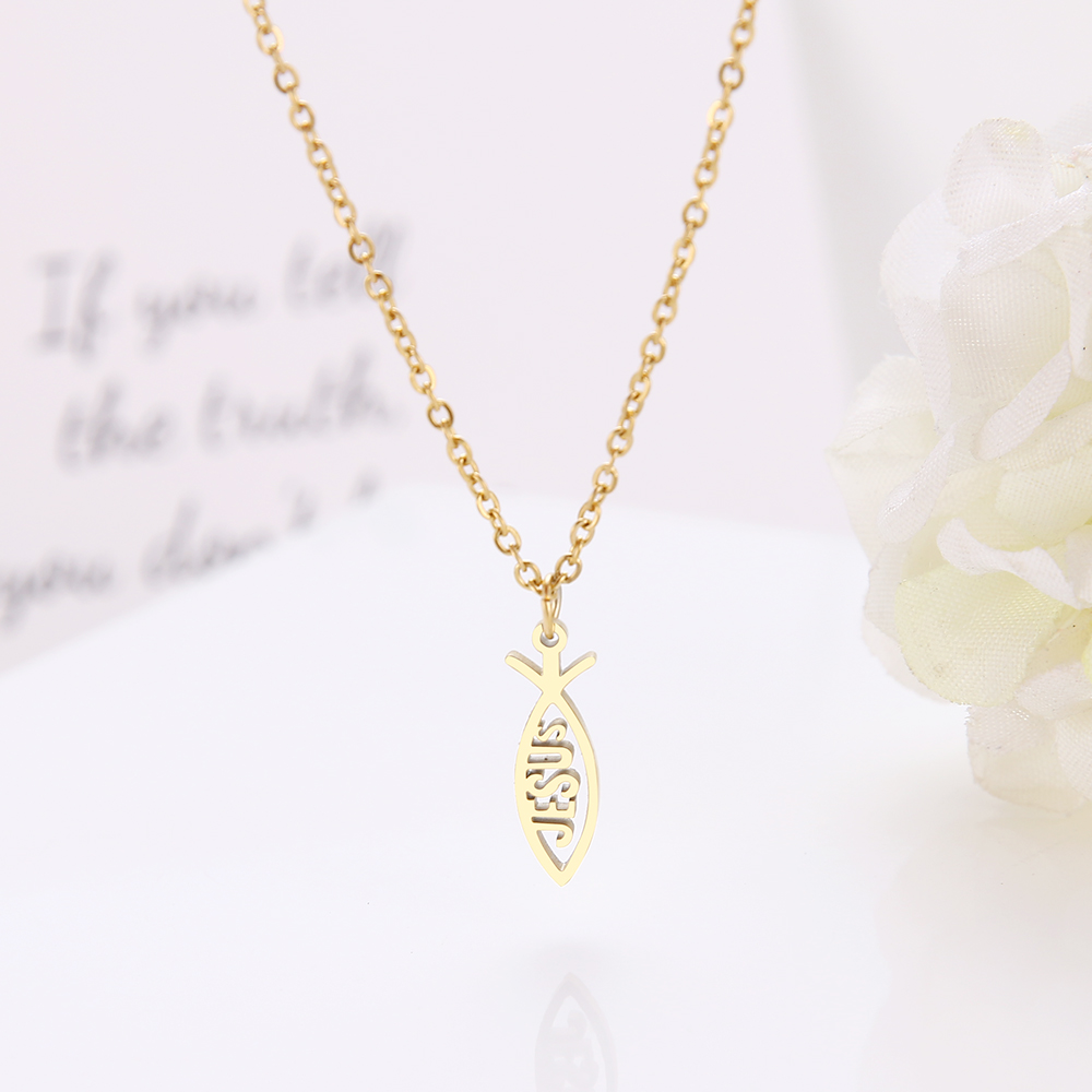DOTIFI ожерелье из нержавеющей стали с подвеской в виде рыбы Иисуса, ювелирные изделия для помолвки D69