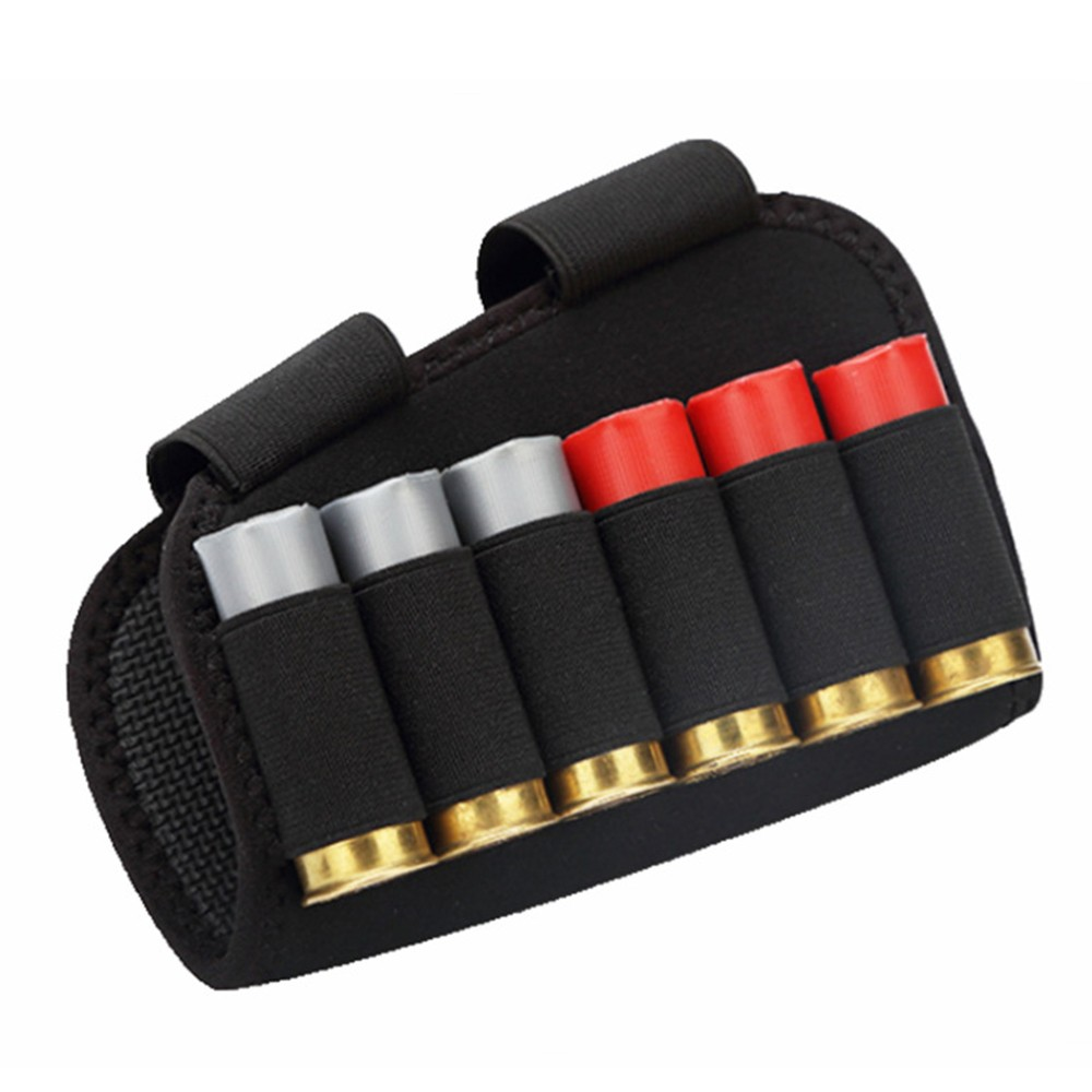 Tactical Shotgun Bullet Holder Hunting Gun Shell Holder 6 Rounds Shotshell Pouch Airsoft Rifle Bullet Ammo Pouch Carrier Pouch image