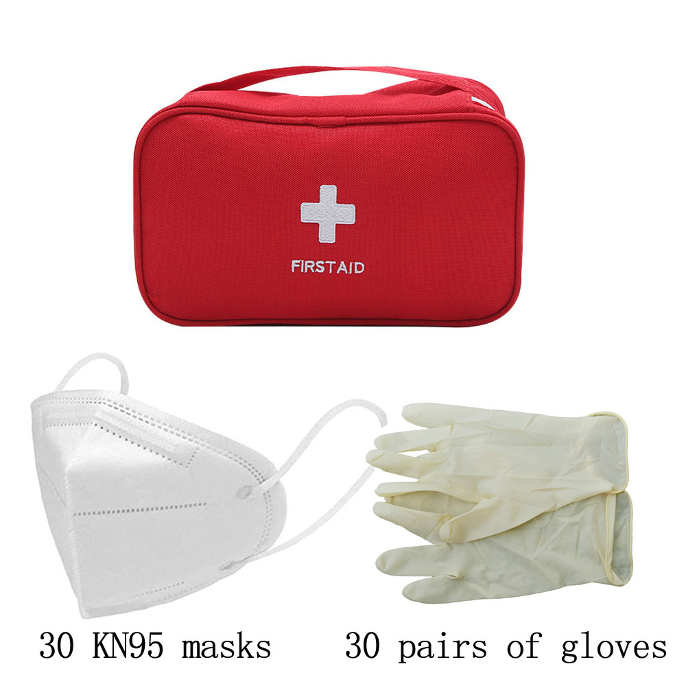 20 KN95masks And 20 Pairs Of Gloves Person Portable Waterproof First Aid Kit Bag For Family Travel Home Car Survival Kit