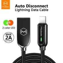 10 adet/grup Mcdodo USB kablosu iPhone X Xs Max XR 2.4A hızlı şarj USB şarj aleti veri kablosu otomatik bağlantı USB şarj aleti LED kordon