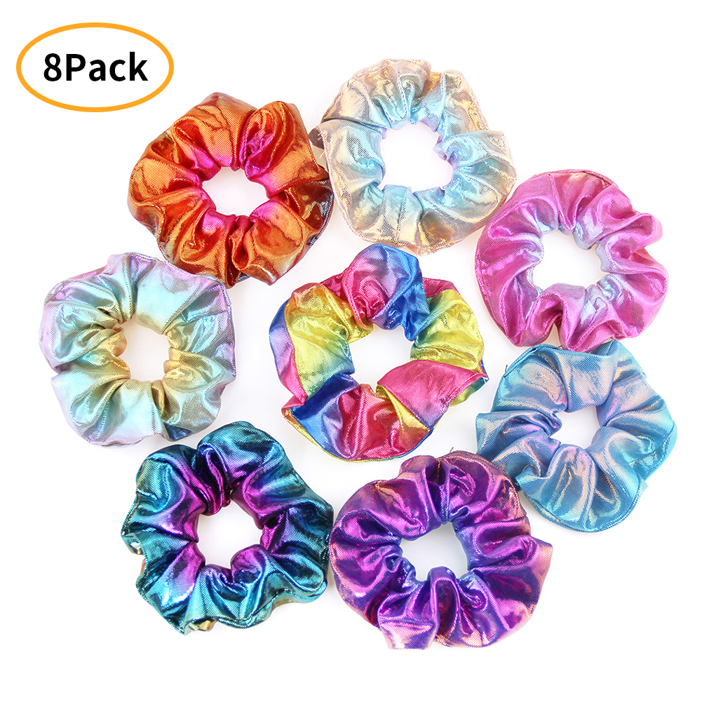 Hair Scrunchies Dazzling Rainbow Metallic Hair Accessories Mermaid Hair Bow Elastics Ponytail Holder Hair Ties Women 8-Pack