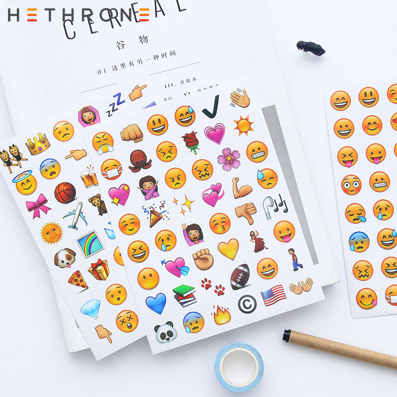 Hethrone Mini Kawaii Cartoon Mini Small Expression Sticker Sticker Round Paper Sticker Hand Account Sticker Decoration Bullet Jo