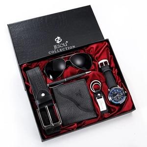 Мужские наручные часы, кожаные кварцевые часы, мужские подарочные наборы для фестиваля, роскошные повседневные солнцезащитные очки, кошеле...
