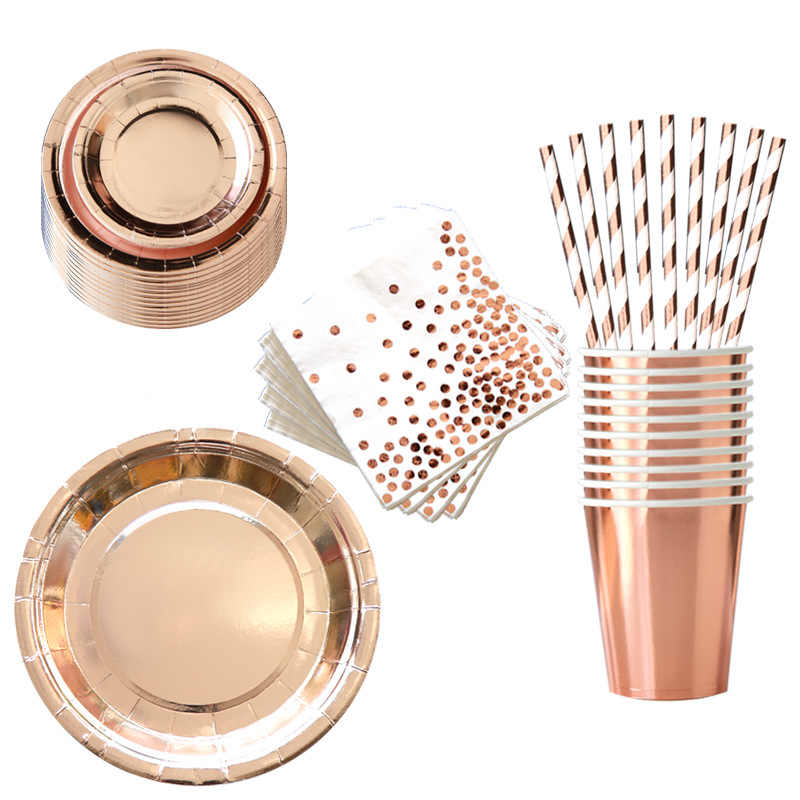 Nieuwe Rose Gold Dot Christmas Party Decoratie Papier Cup Plaat Stro Tafel Cover Champagne Gold Dot Thema Feestartikelen Servies