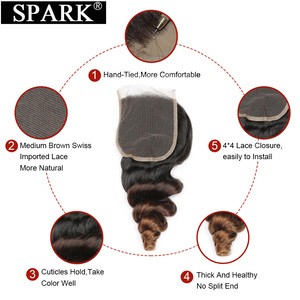 Image 4 - Ombre Peruvian Loose Wave Bundles with Closure 1B/4/30 Spark Remy Hair Extension Human Hair Bundles with Closure Medium Ratio