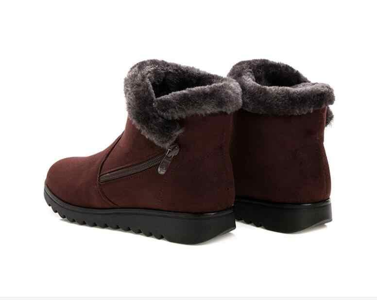 Botas de nieve de algodón de moda para mujer, botas de invierno de felpa de piel corta, zapatos con cremallera de gamuza para mujer