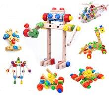 80 шт играть деревянные упражнения ребенка интеллекта разнообразие многофункциональная гайка комбинации детские головоломки игрушки раннего развития