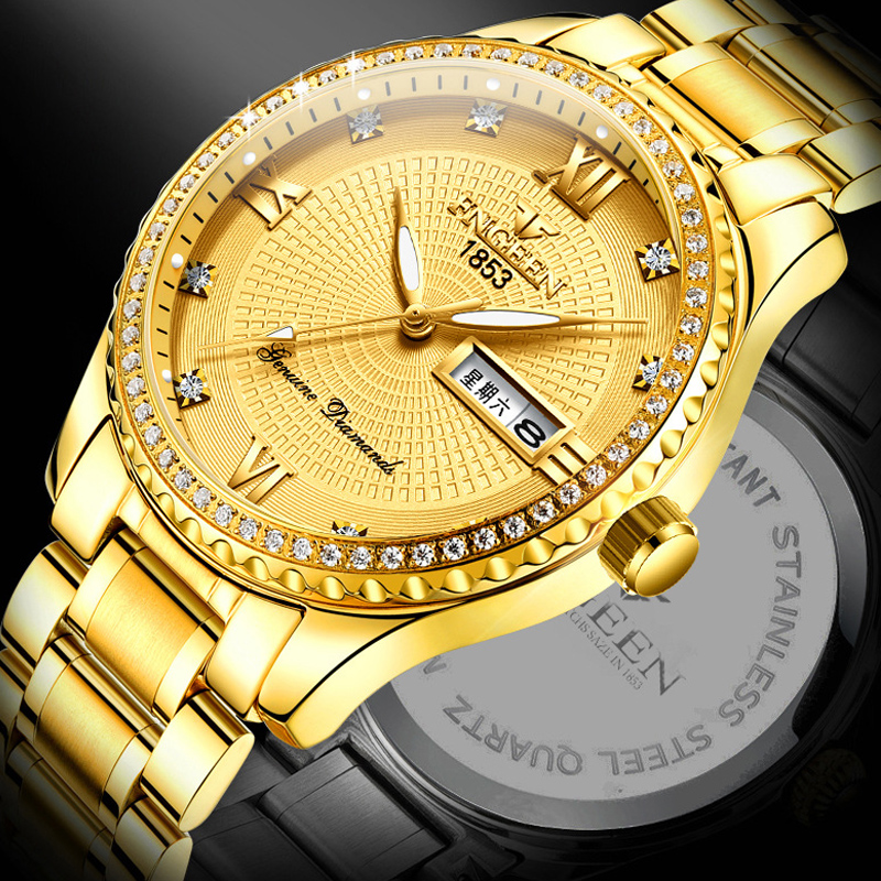 Genuine Men's Watch Ully Automatic Mechanical Watch Waterproof New Fashion Luminous Calendar Large Dial Gold Quartz Watch 1