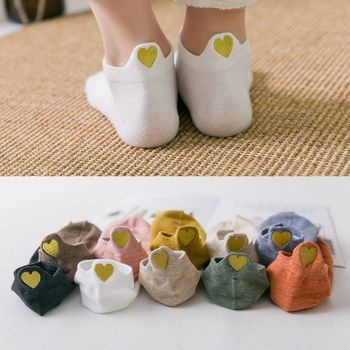 Women Golden Peach Heart Embroidery Cotton Short Socks Summer Female Harajuku Candy Color Fashion Happy Boat Ankle Sock Slippers fashion patterned women ankle breathable low sock seamless invisible socks slippers female cotton boat printed short socks