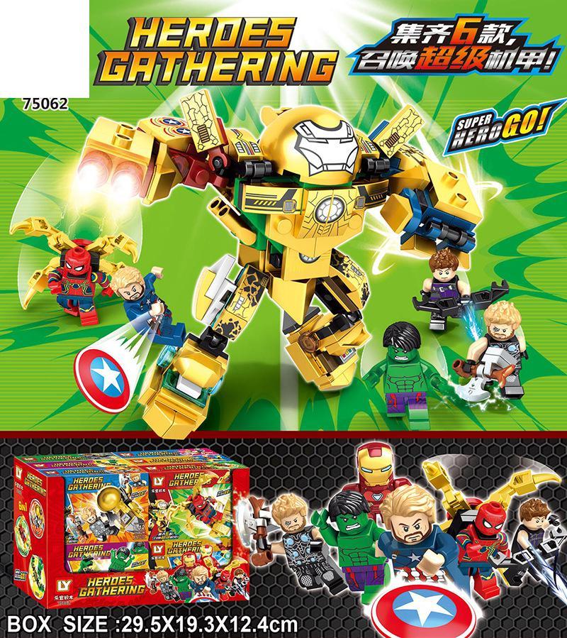 75062 Avengers Iron Man 6 modelos fit anti-armadura máquina Jieke enigma menino montado blocos de construção de brinquedos