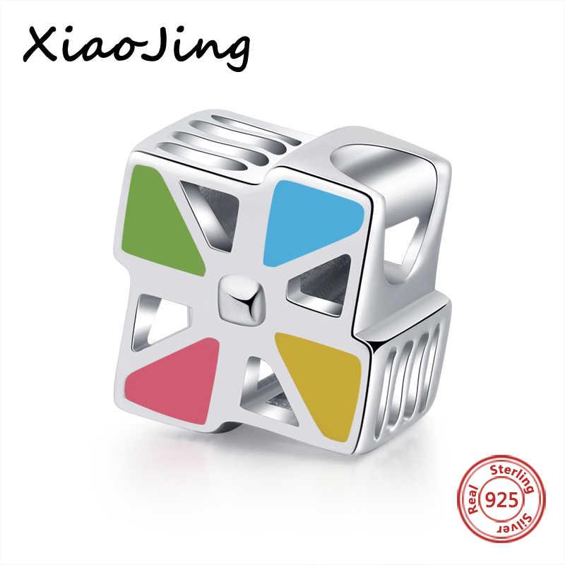 """XiaoJing, оригами, детский кулон """"ветряная мельница"""", сделай сам, ювелирное изделие, 925 пробы, серебро, разноцветные бусины, подходят для браслета Pandora, ювелирные изделия для матери"""