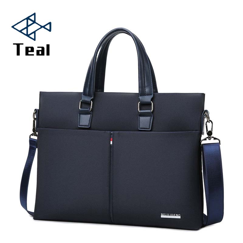 Men's Business Casual Bag Oxford Cloth Briefcase Men's Tote Bags Blue High Quality Male Business Leather Large Capacity Black