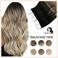 Полностью Сияющие натуральные волосы на ленте для наращивания, 100% человеческие волосы Remy, Омбре, 40 шт., 100 г, балаяж, бесшовные светлые волосы ...