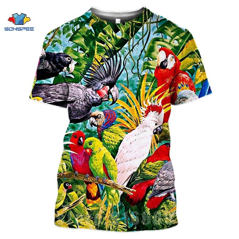 Hot Sales 3D Print Weeds T Shirts Parrot Men's T-Shirts Women Gym Clothes Flower Animal Bird Fashion T-shirt Kids Oversize Shirt