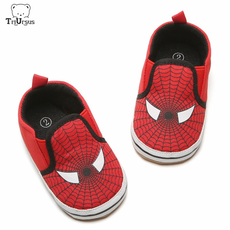 Baby Boys First Walkers Cartoon Superman Spider Man Infant Toddler Baby Boys Prewalker Shoes Non Slip Three Size 11cm 12cm 13cm
