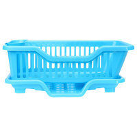 Kitchen Sink Dish Plate Utensil Drainer Drying Rack Holder Basket Organizer Tray  Blue
