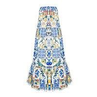 2019 new fashion summer long skirt Women's elegant blue and white porcelain print