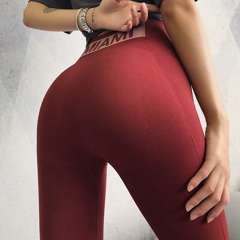2019 miel pêche musculation pantalon femme lettre fermer Slim hanche pantalon courir mouvement Yoga pantalon Leggins Sport femmes Fitness Leggings