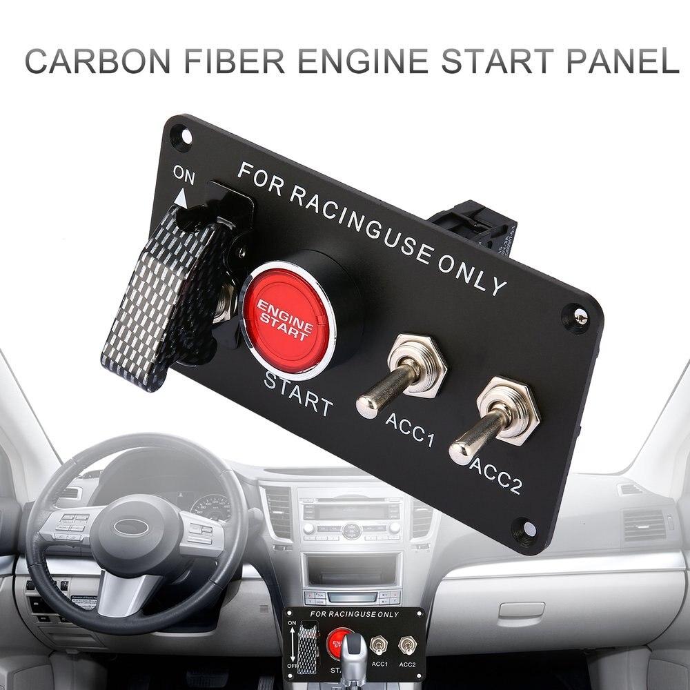 แข่งรถแผงสวิทช์จุดระเบิดเครื่องยนต์ Start Starter ปุ่ม LED สลับ 12V สำหรับรถยนต์