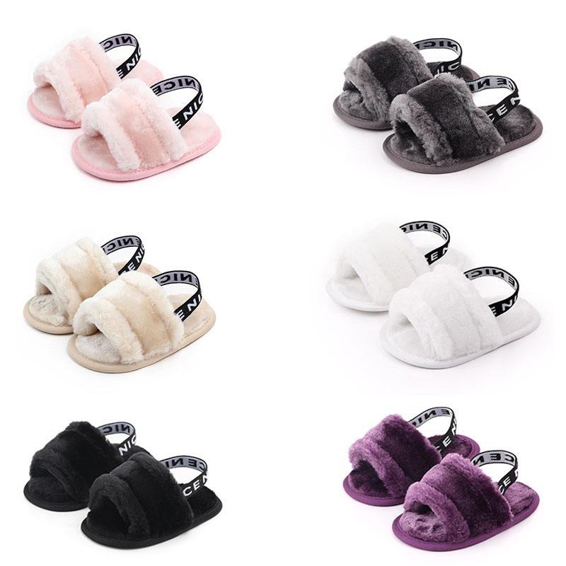 6 Colors Newbrn Baby Girl Slippers With Fur Soft Sole Infant Solid Color Shoes Autumn Baby Slippers Princess Shoes 0-18M