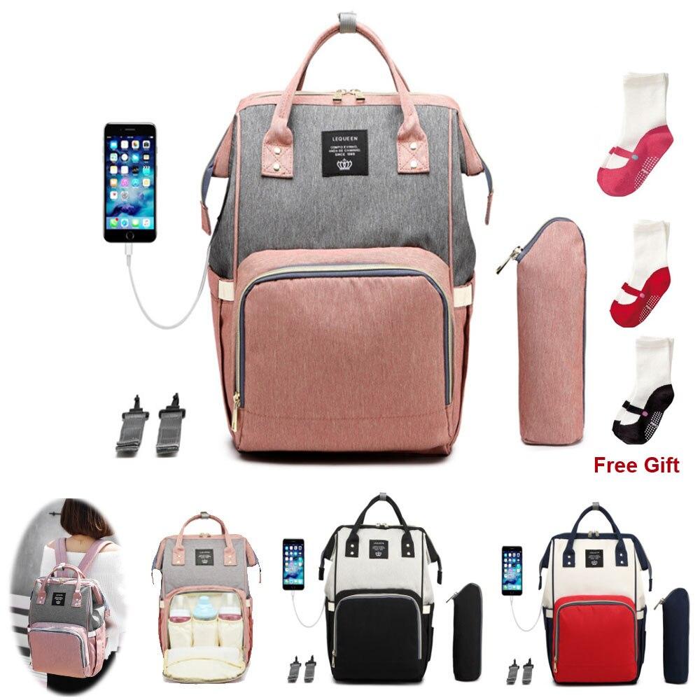 LEQUEEN-sacs à couches pour bébé | Sac à couches de grande capacité USB pour maman, sac à dos de voyage pour soins infirmiers pour bébé