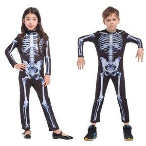 Image 2 - Umorden Costumes avec crâne pour fête dhalloween, Costume avec squelette pour enfants, monstre effrayant, démon effrayant, diable et fantôme grimm, pour garçons et filles