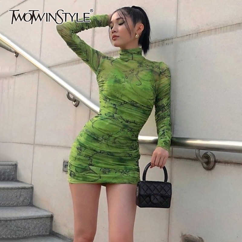 TWOTWINSTYLE Print Hit Color Ruched Dresses For Women Turtleneck Long Sleeve Sexy Slim Mini Dress Female 2020 Fashion Summer New