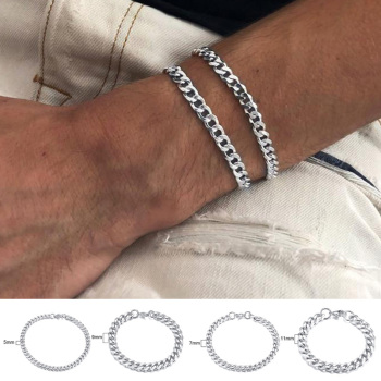 PUNK SILVER COLOR CURB CHAIN BRACELET FASHION MEN'S STAINLESS STEEL BANGLE BRACELETS 3MM 5MM 7MM 9MM 11MM 1