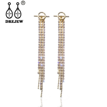 DREJEW Gold Round Long Tassel Rhinestone Statement Earrings Sets 925 Silver Drop for Women Wedding Jewelry HE6321