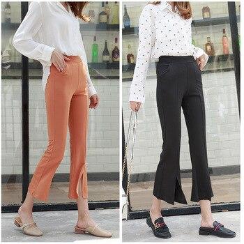 Свободные брюки с микро-трубой женские свободные летние повседневные брюки капри Модные женские Универсальные леггинсы