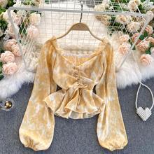 Spring Autumn Women's Top Ins Korean Style Drawstring Pleated V-Neck Shirt Waist Lotus Leaf Short Chiffon Blouse